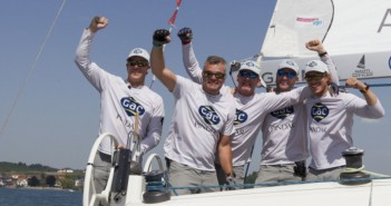 Ian Williams and GAC Pindar after winning Match Race Germany © AWMRT