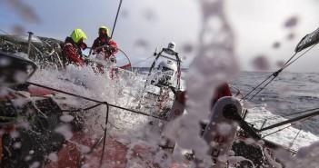 Irregular conditons on deck today. Photo: © Yann Riou / Dongfeng Race Team